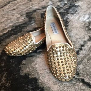 Gold Studded loafer style flats
